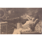 Vintage Nude Postcard in Sepia from France