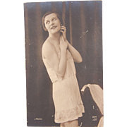 1920's Postcard from Paris France of a beautiful Lady - real photo by J. Mandel