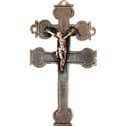 18th Century Baroque Silver Double Crucifix / Patriarchal Cross / CROSS OF CARAVACA / Germany 12 Lot (.750)