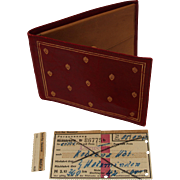 Vintage 1950s Red Leather Wallet with Original Owners Train Ticket