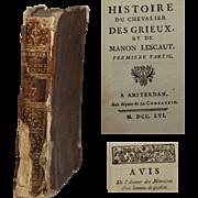 18th Century French Book - historie du chevalier des grieux et de manon lescaut by Abbé Prévost 1756