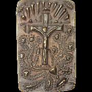 Antique Bronze  Relief of Crucifix / Jesus on Cross
