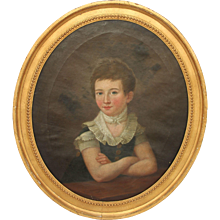 Masterpiece 19th Century Portrait of Young Girl / Lady - Oil Painting on Canvas with Original Gilt Frame from Germany Biedermeier circa 1810 - Red Tag Sale Item