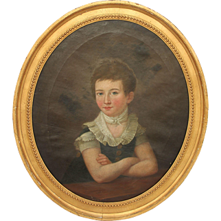 SALE Masterpiece 19th Century Portrait of Young Girl / Lady - Oil Painting on Canvas with Original Gilt Frame from Germany Biedermeier circa 1810