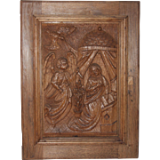 18th Century Annunciation Day Scene / Wood carved Depiction of the Annunciation to the Blessed Virgin Mary