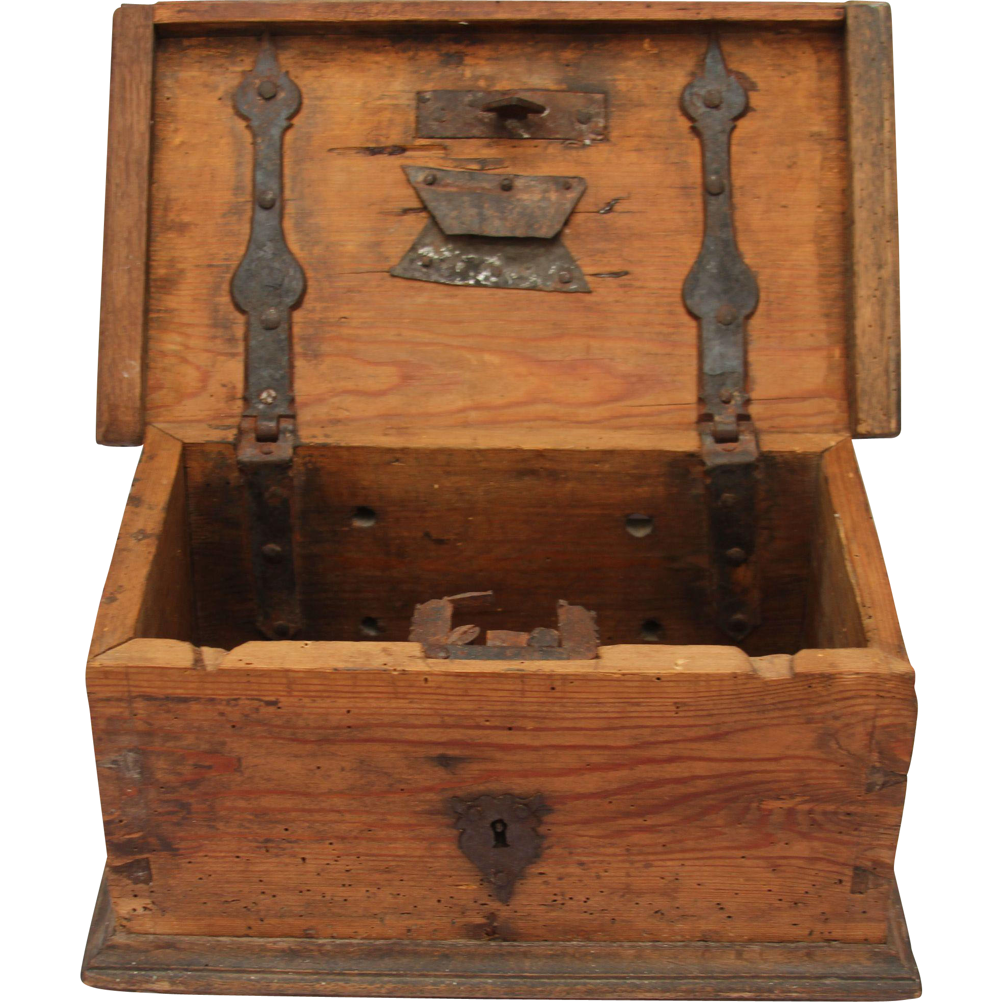 18th Century Authentic Church Treasure Chest fering Box Rustic from vianova on Ruby Lane