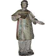 18th Century Louis XVI Statue of St Lawrence of Rome - Polychrome Wood Carved Figure of a Saint Laurentius