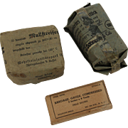 WW II First-Aid Dressing from Germany and USA - Gauze bandages from Second World War