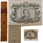 1817 French Book with many Copper Engravings - Jerusalem Delivree