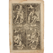 Rare 18th Century Copper Engraving of The Important Persons from the five books of Moses