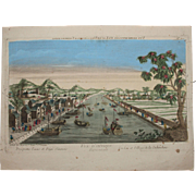 18th Century Vue d'optique Perspective View Etching of an Indian Village  by JACQUES CHEREAU