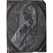 19th Century Printing Block / Cliché of a Saint from Bavaria - Wood