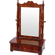 19th Century Beautiful Biedermeier Desktop Vanity with Cherry Wood Veneer - Shaving Mirror from Germany