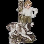 """19th Century Probstzella Hutschenreuter Germany Porcelain Figurine """"Boy with Dog"""""""