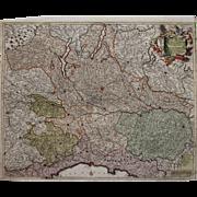 17th Century Antique Baroque map of North Italy including Parma, Milan, Lake Garda, Genoa & more by Frederick de Witt