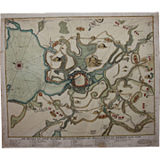 18th Century Scarce Map / Sea Chart of Wismar during the Siege of 1715/16 (van Keulen)