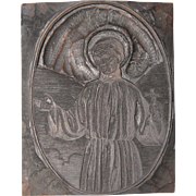 19th Century Printing Block / Cliché of a Saint with a Cross in his hands from Bavaria - Wood