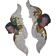 18th Century Pair of two Putti / Angel / Cherubs - Baroque Statue from Westphalia Germany - Polychrome Wood Carved with Gilt