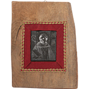 19th Century Framed Printing Block / Cliché of a Saint Augustine of Hippo - Wood