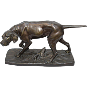 Original Antique Bronzed Metal Sculpture of Hunting Dog, France circa 1910