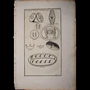 18th Century Copper Engraving of Various Kinds of Shields from L'antiquité expliquée et représentée en figures by Bernard de Montfaucon