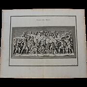 """18th Century Copper Engraving of """"Assault of death"""" from L'antiquité expliquée et représentée en figures by Bernard de Montfaucon"""