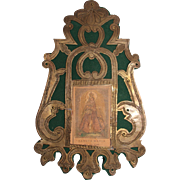 18th Century Baroque Engraved Bronze Devotional Frame with hand colored Steel Engraving of Maria