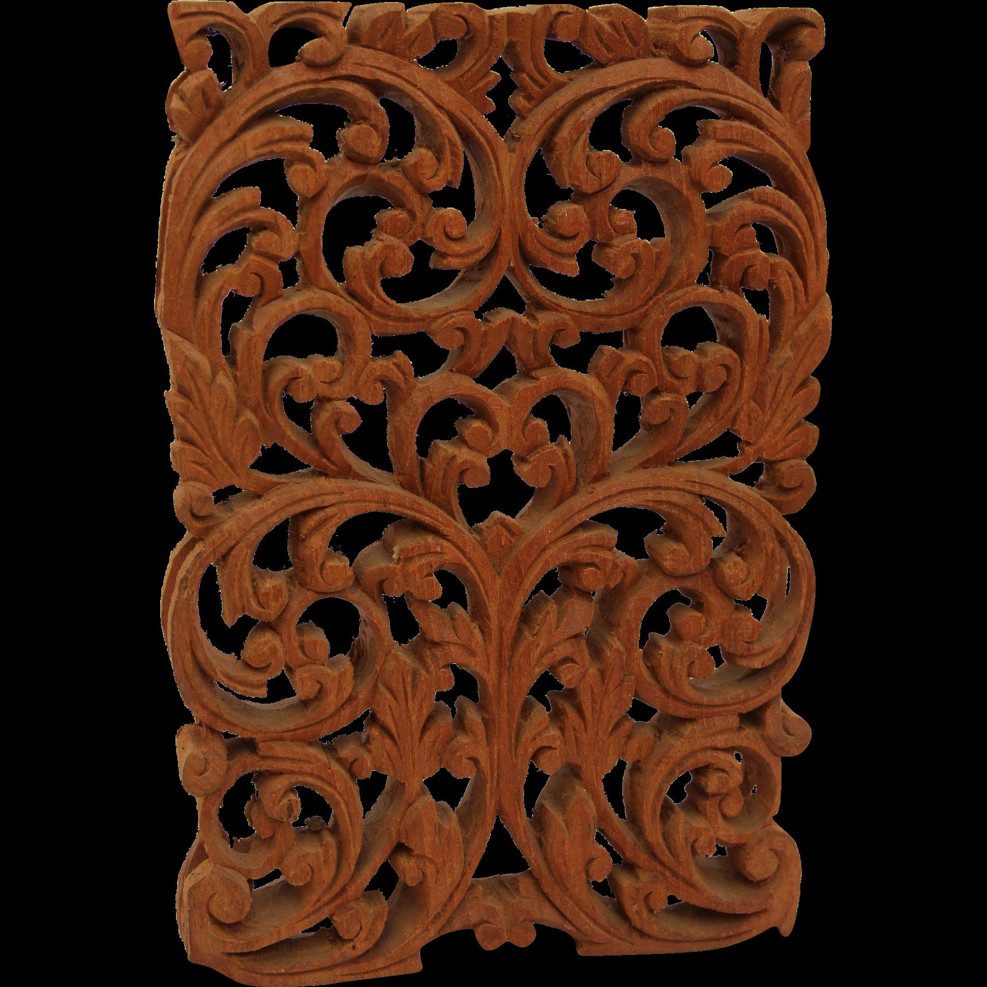 Vintage Arabic Style Wood Carved Window Panel Floral