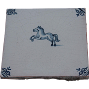 18th Century Delft Tile - Rearing Horse - Dutch Blue & White Tile