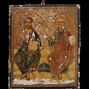 "18th Century Greek-Orthodox Icon depicting ""Trinity"" Father, Son & Holy Spirit"