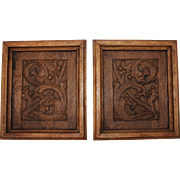 18th Century Set of 2 Oak Leaf Cluster Carved Wood Panels