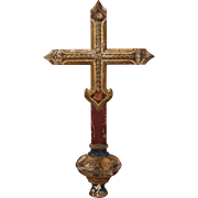 19th Century Processional Cross /  Crucifix Wood Carved