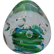 Murano Glass Paperweight Blue - Green - White Swirl Under Clear Glass