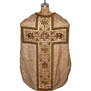 Baroque clerical Vestment / Chasuble with Silver and Gold Embroidery / 18th Century from Spain