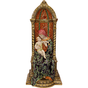 Madonna with Child - Tall  Italian Baroque Majolica Statue of Mary with Jesus Christ / Polychrome / Maiolica