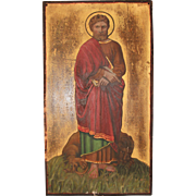 19th Century Gothic Revival Painting of St. Mark the Evangelist on Wood Panel - Polychrome and Gilt