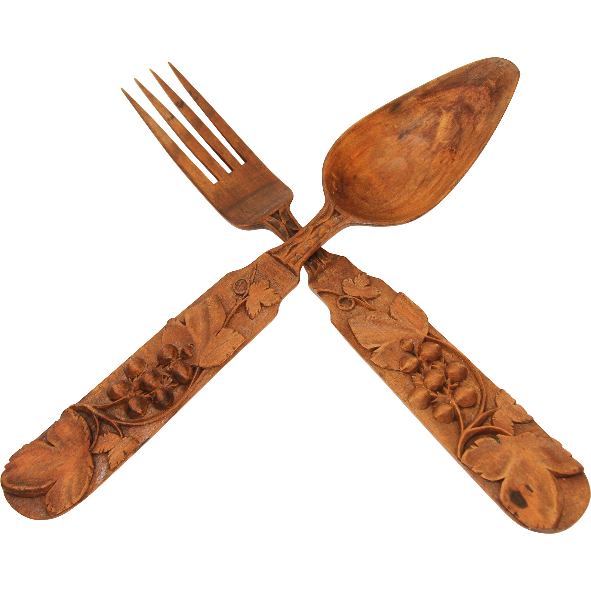 19th century set of carved wood spoon and fork germany black forest from vianova on ruby lane. Black Bedroom Furniture Sets. Home Design Ideas