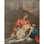 18th Century Baroque Oil Painting of Virgin Mary with Dead Jesus (Pieta)