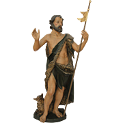 19th Century Tall Statue of St John the Baptist - 46 Inch - carved wood Polychrome (German)