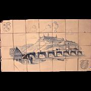 17th Century Set of 28 Fine Antique Dutch Tiles (Delft Ware) View of Marienberg Würzburg