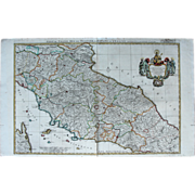Large Original Antique Map of Italy -Tuscany - Elba - Rome by Nicolas Sanson