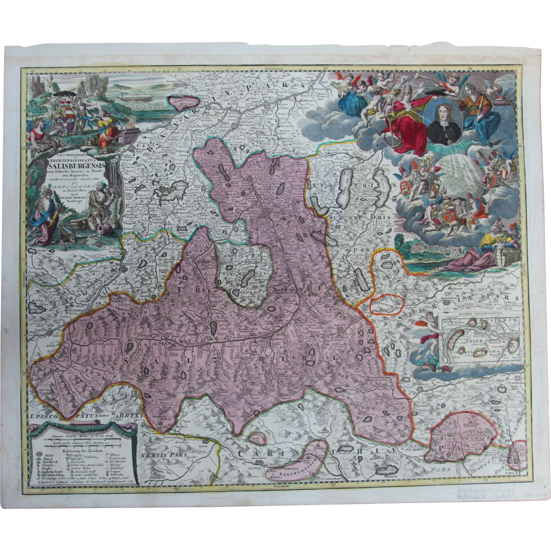 Rare antique map of the region around salzburg austria johann rare antique map of the region around salzburg austria johann baptist vianova ruby lane gumiabroncs Gallery