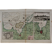 Very Scarce Map / Sea Chart of Wismar during the Siege of 1715/16 with cityscape & many details (van Keulen)
