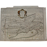 Beautiful 18th Century map of the Principality of Neuchâtel / Neuenburg and Vallangin - modern Switzerland (Guillaume de Lisle)