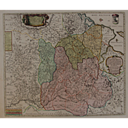 Beautiful 17th Century Antique baroque map of Lithuania by Frederick de Witt