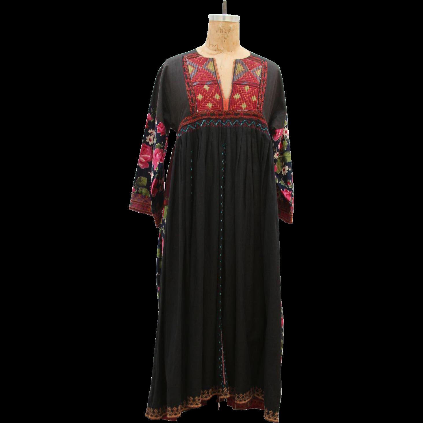 S handmade vintage embroidery flower pattern maxi dress