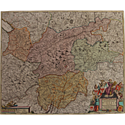 Beautiful 17th Century Antique baroque map of Tyrol / Tirol by Frederick de Witt