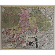 17th Century Antique map of the historical Ecclesiastical principality of Liege, Belgium - by Visscher N. (1680)