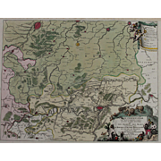 17th Century Antique map of the battle of Namur, Belgium - by Visscher N. (1695)