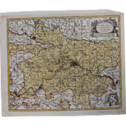 17th Century Antique map of then Namur and its surrounding - Belgium - by Visscher N. II (1690)